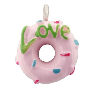 "Acrylic Baby Pink ""Love"" Doughnut Whole 13mm"